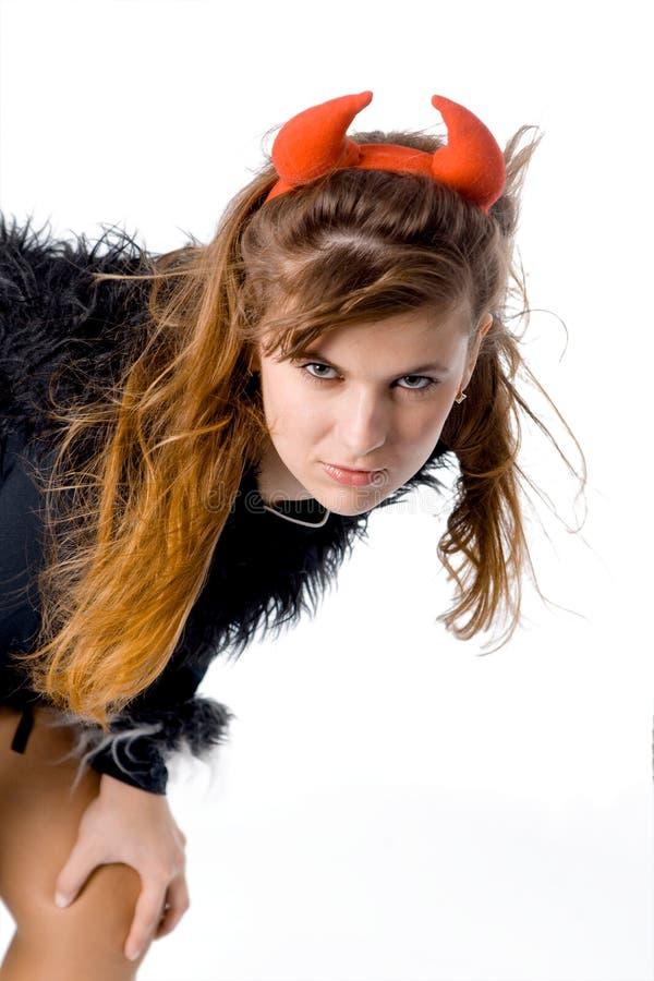 Devil woman close up royalty free stock photos