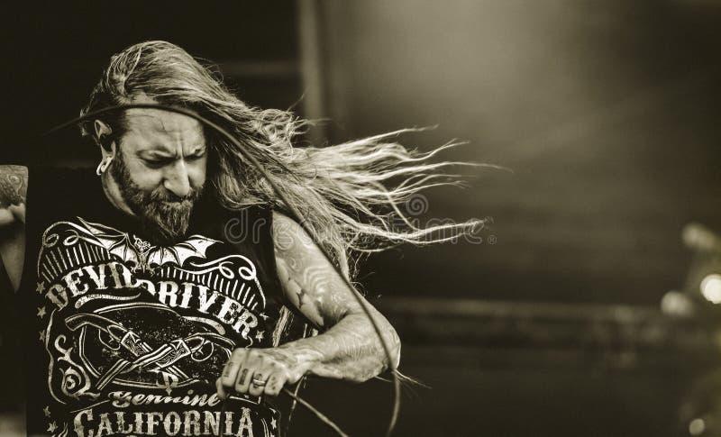 DevilDriver, Dez Fafara vive no concerto 2017, metal pesado foto de stock