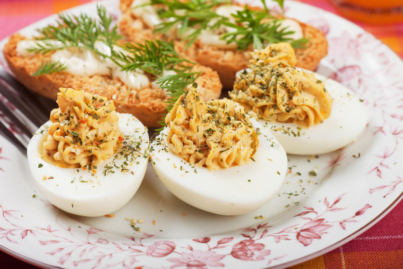 Download Deviled eggs stock photo. Image of breakfast, plate, bread - 32870266