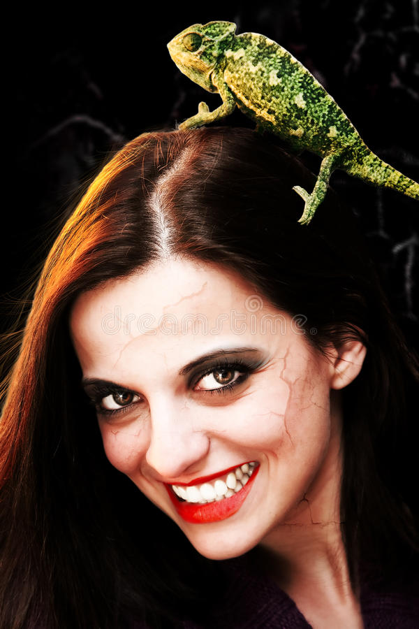 Devilish woman with chameleon. Portrait of a devilish young woman wearing a chameleon in her hair royalty free stock images
