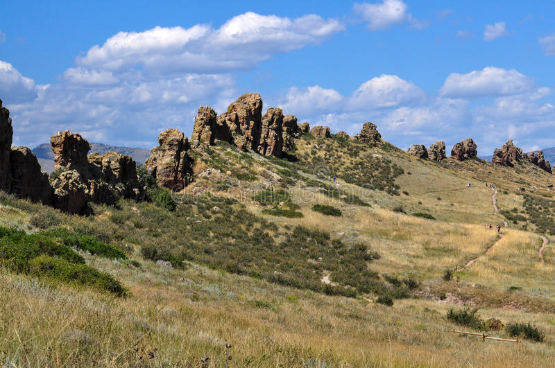 Devils Backbone is a popular hiking trail in Loveland, Colorado stock photos