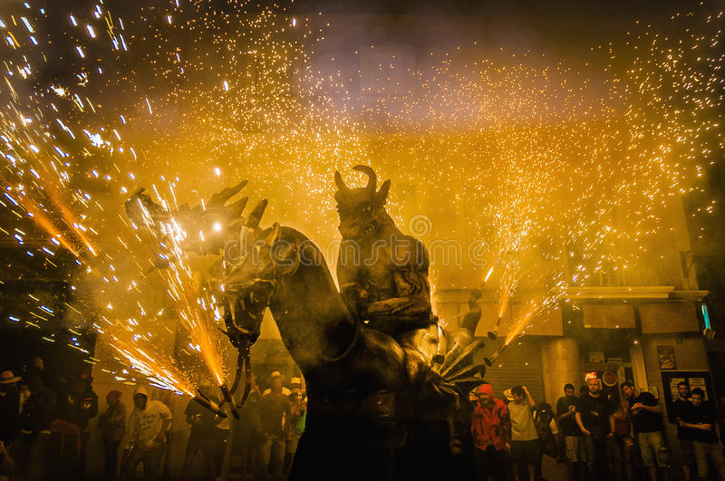 Devils dance Group on Correfoc perfo stock photography