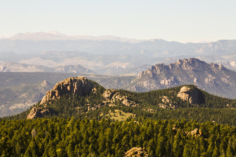 Devils Head Montains. Devils head is a distinct granite rock outcropping in the front range west of Castle Rock. The outcropping is clearly visible from Castle stock photo