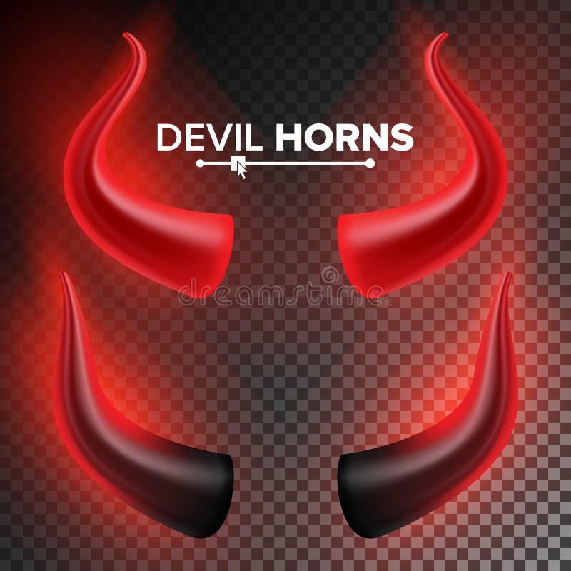 Devils Horns Vector Red Luminous Horn Isolated On White Background