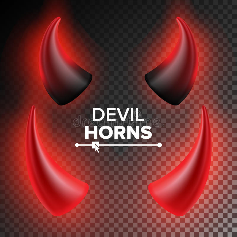Devils Horns Vector Red Luminous Horn Realistic Red And Black