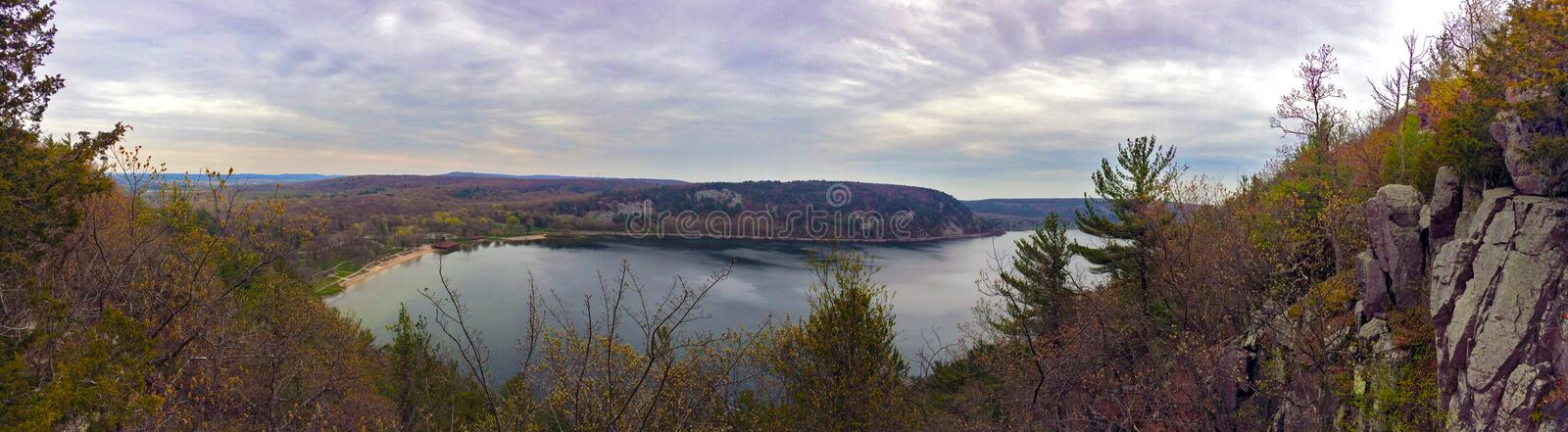Devils Lake in Wisconsin. A view over the Devil's Lake, in the Baraboo Range in Sauk County, Wisconsin, USA royalty free stock images