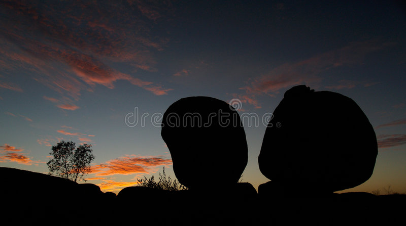 Devils Marbles Sunset Stock Photo