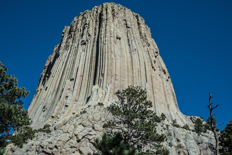 Devils Tower in eastern Wyoming. Basalt formation of Devils Tower in Wyoming royalty free stock image