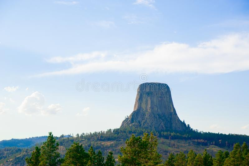 Devils Tower is located in in Crook County, northeastern Wyoming. Also, known as United States National Monument. The world is big enough to explore stock image