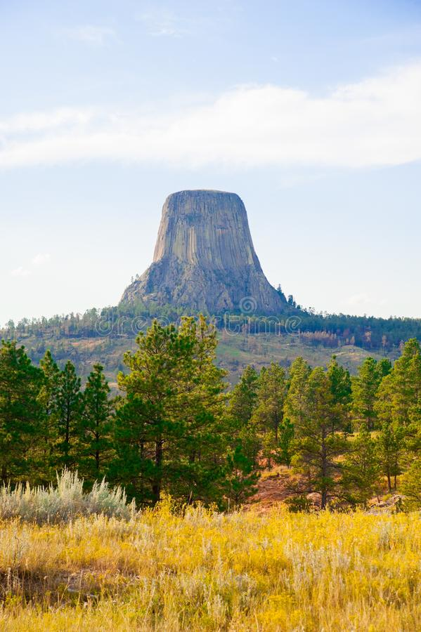 Devils Tower is located in in Crook County, northeastern Wyoming. Also, known as United States National Monument. The world is big enough stock photos