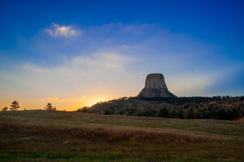 Devils Tower is located in in Crook County, northeastern Wyoming. Also, known as United States National Monument. In Beef or Chicken royalty free stock photo
