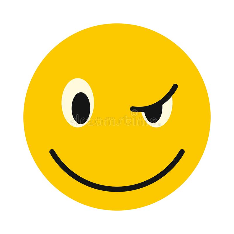 Devious smiley icon, flat style. Devious smiley icon in flat style isolated on white background. Facial expressions symbol vector illustration