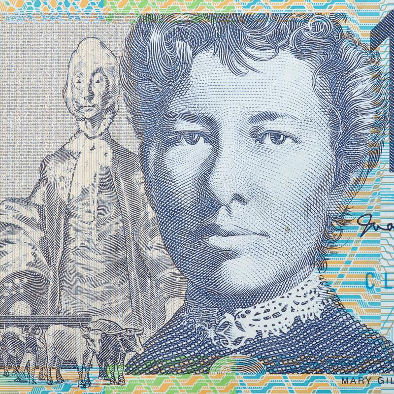 Devise australienne note des Dix dollars photo stock