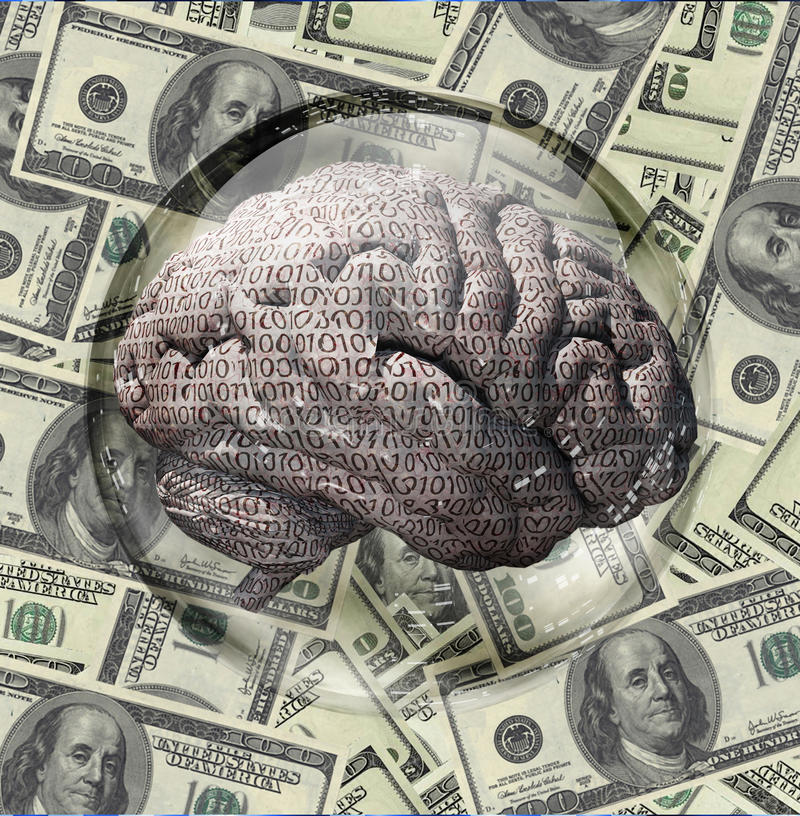 Devise binaire des USA de cerveau illustration libre de droits