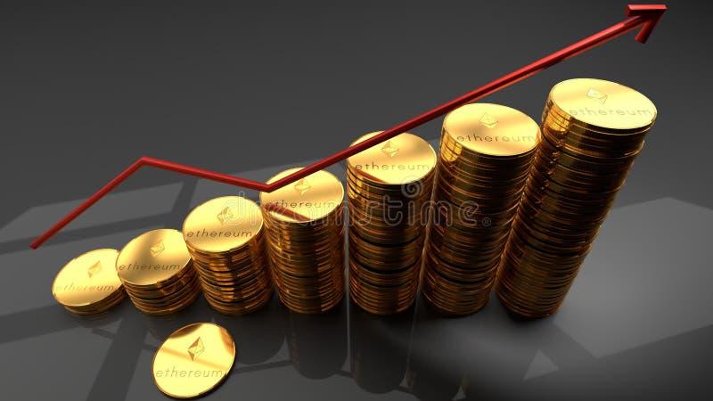Devise d'Ethereum, cyber, pièce de monnaie numérique, pile de pièces de monnaie d'or avec un diagramme augmentant rouge illustration stock