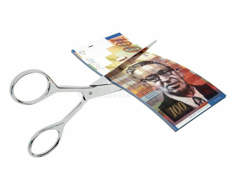 devise 3D israélienne avec des ciseaux illustration stock