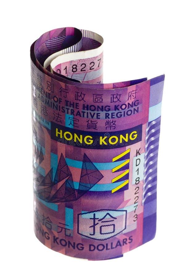 Devise de Hong Kong roulée images stock