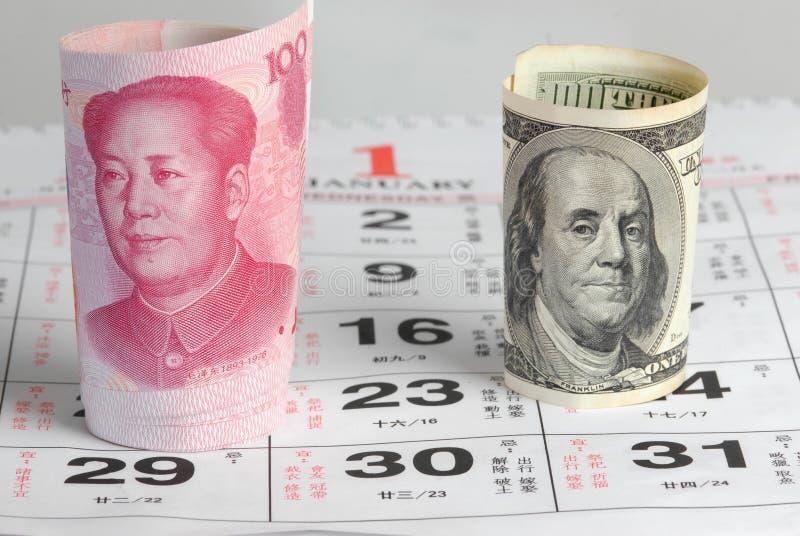 Devise de la Chine USA photos libres de droits