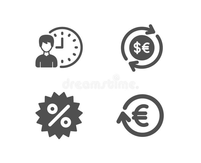 Devise de remise, d'argent et icônes d'heures de travail Symbole monétaire d'échange illustration libre de droits