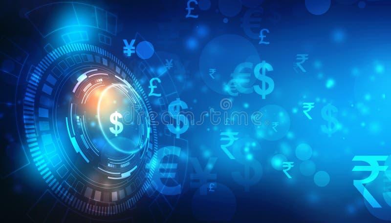 Devise globale sur le fond de technologie, transfert d'argent, concept de marché boursier images stock