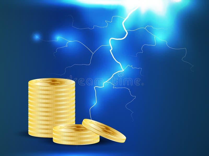 Devise numérique d'or de Bitcoin Piles de dix pièces de monnaie sur le fond bleu-foncé avec la foudre ou la tempête Exploitation  illustration libre de droits