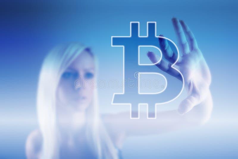 Devise numérique de signe de Bitcoin, argent numérique futuriste, concept de technologie de blockchain image stock