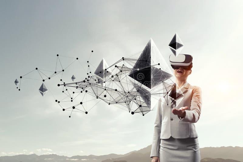 Devise virtuelle Bitcoin Media m?lang? illustration stock