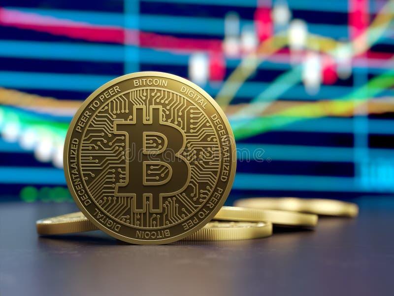 Devise virtuelle d'échelle de croissance d'or de Bitcoin illustration libre de droits