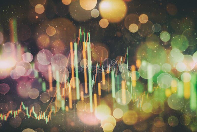 Devisenhandelsdiagramm und Kerzenständerdiagramm passend für Finanzinvestitionskonzept Wirtschaft neigt Hintergrund für Geschäfts stockfoto