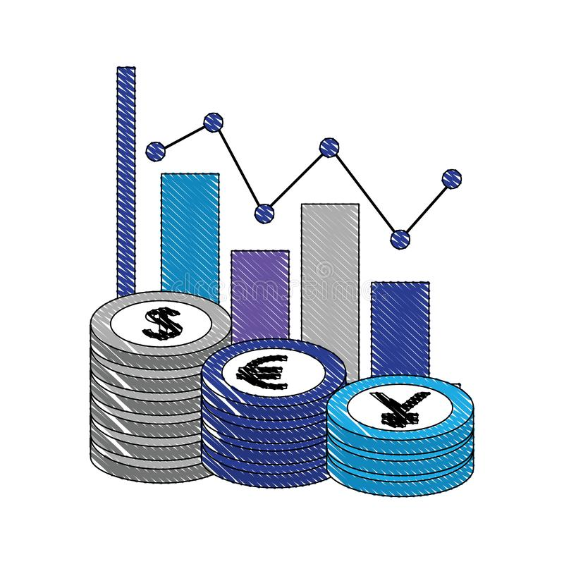 Devisenkurs des Statistikdiagrammwährungsgeldmünzendollaryeneuros stock abbildung