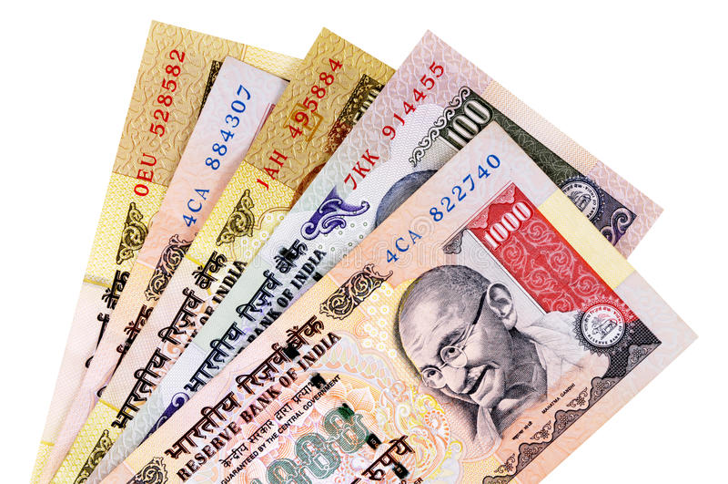 Devisenwechsel der indischen Rupie lizenzfreie stockbilder