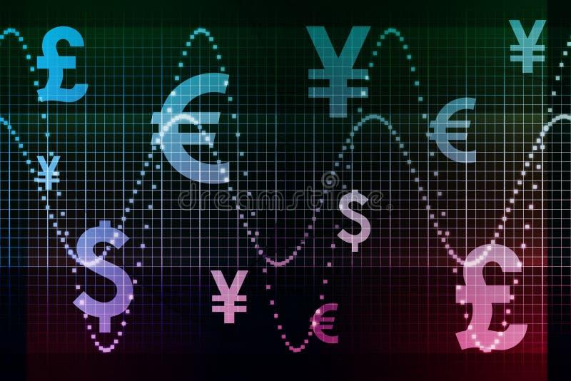 Devises globales pourprées bleues de secteur financier illustration stock