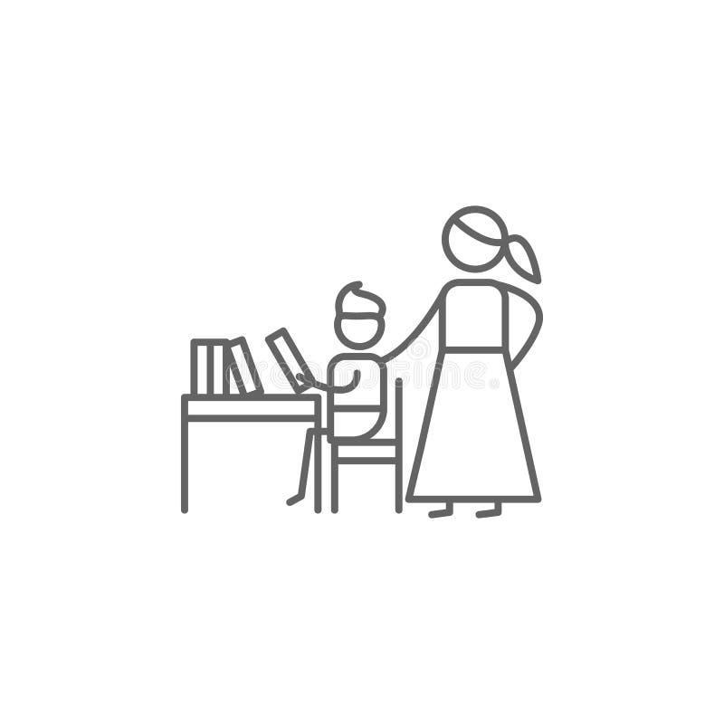 Devoirs, mère, icône d'enfant r Ligne mince ic?ne pour la conception de site Web et le d?veloppement, d?veloppement d'APP illustration stock