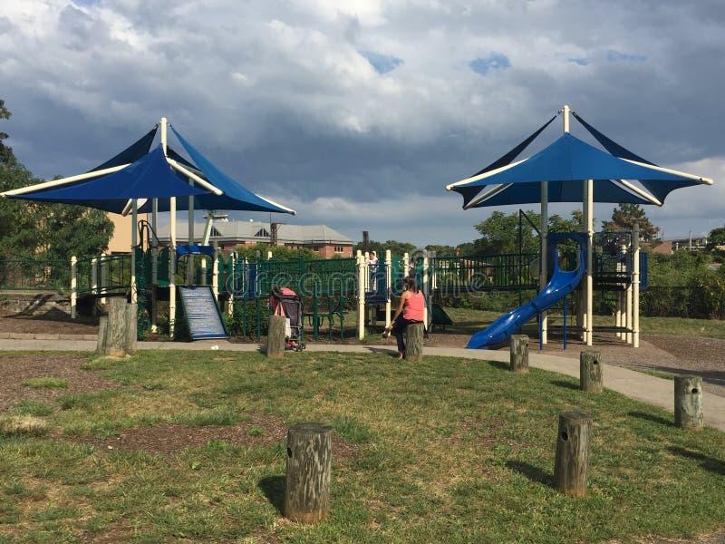 Devon' s-Platz bei Mathews Park in Norwalk, Connecticut lizenzfreies stockbild