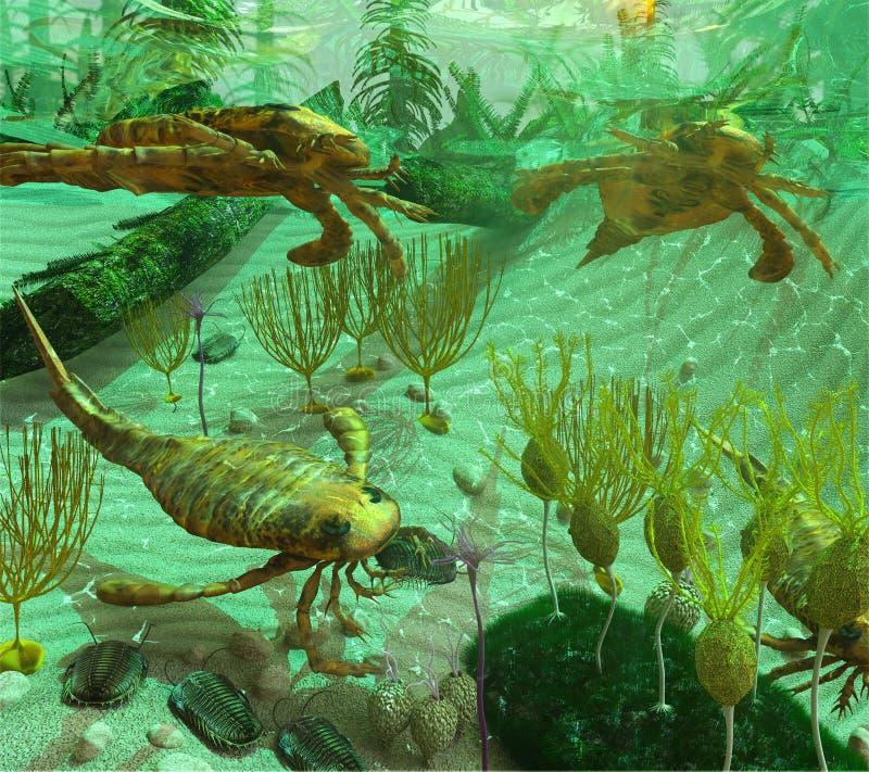 Devonian Sea Scene royalty free illustration