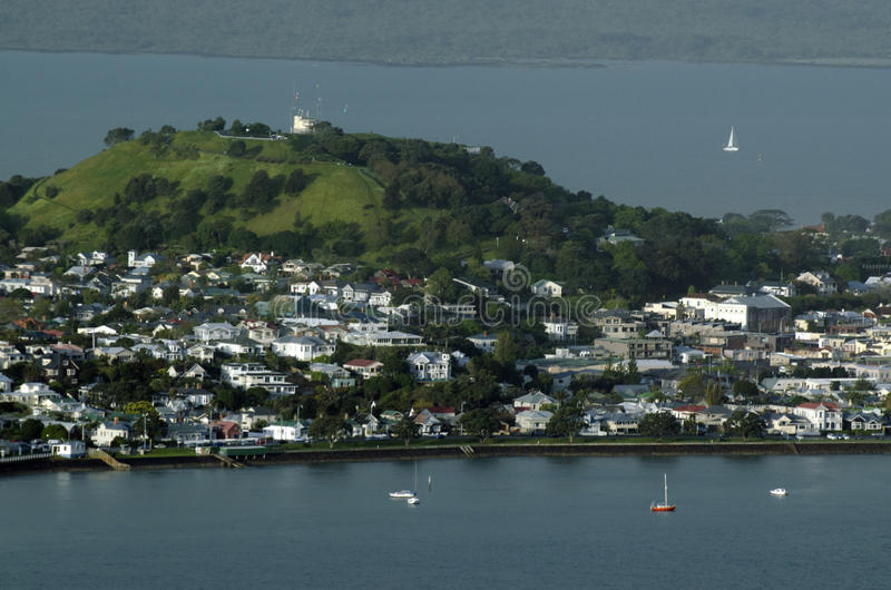 Devonport Auckland New Zealand NZ. DEVONPORT, NZ - OCT 08: Aerial view of Devonport on May 30 2013.The suburb hosts the Naval Base of the Royal NZ Navy but is stock images