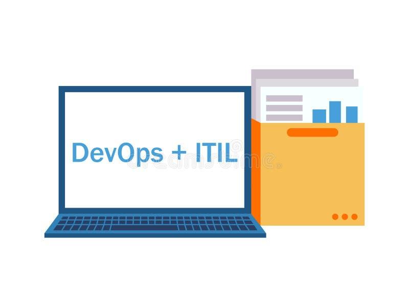 DevOps加上ITIL 有一个文件夹的膝上型计算机与文件和图表 皇族释放例证