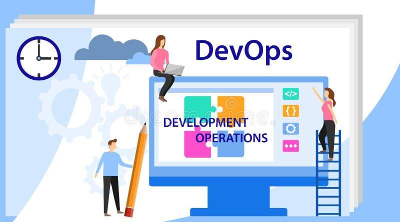Devops на концепции работы DevOps, развитие и деятельность Концепция иллюстрации вектора с людьми используя DevOps иллюстрация штока