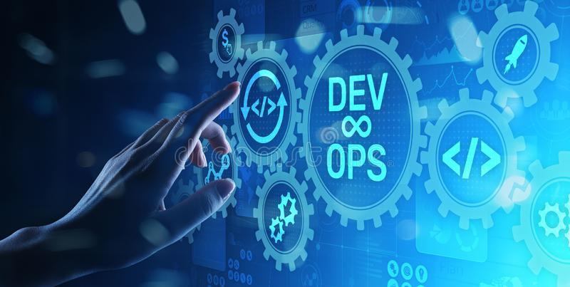 DevOps Agile development concept on virtual screen. DevOps Agile development concept on virtual screen royalty free stock photography