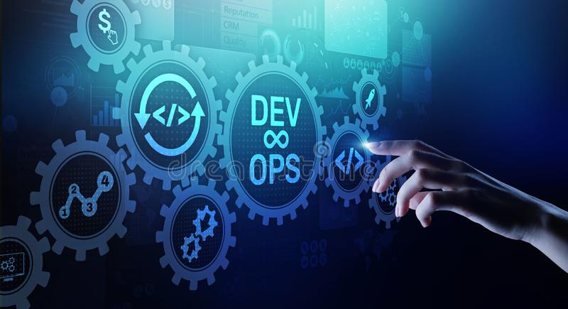 DevOps Agile development concept on virtual screen. DevOps Agile development concept on virtual screen royalty free stock photo