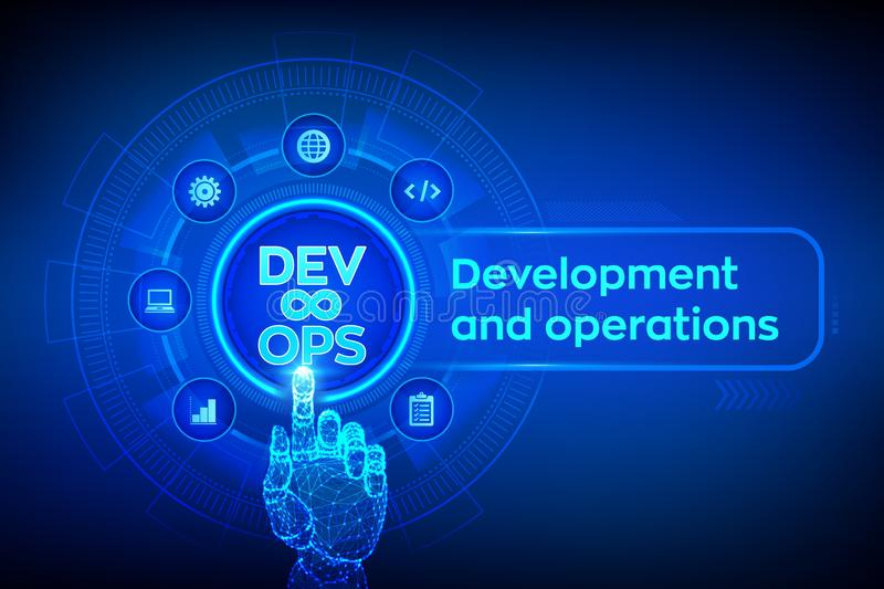Devops. Agile development and optimisation concept on virtual screen. Software engineering. Software development practices royalty free illustration