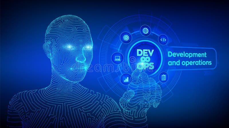 DevOps Behendig ontwikkeling en optimaliseringsconcept op het virtuele scherm Softwaretechnologie Software-ontwikkelingpraktijken vector illustratie
