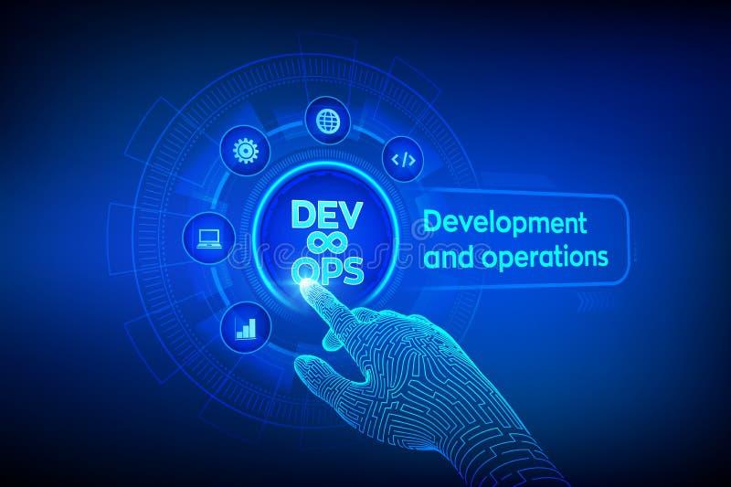 DevOps Concepto ágil del desarrollo y de la optimización en la pantalla virtual Ingenier?a de programas inform?ticos Prácticas de ilustración del vector