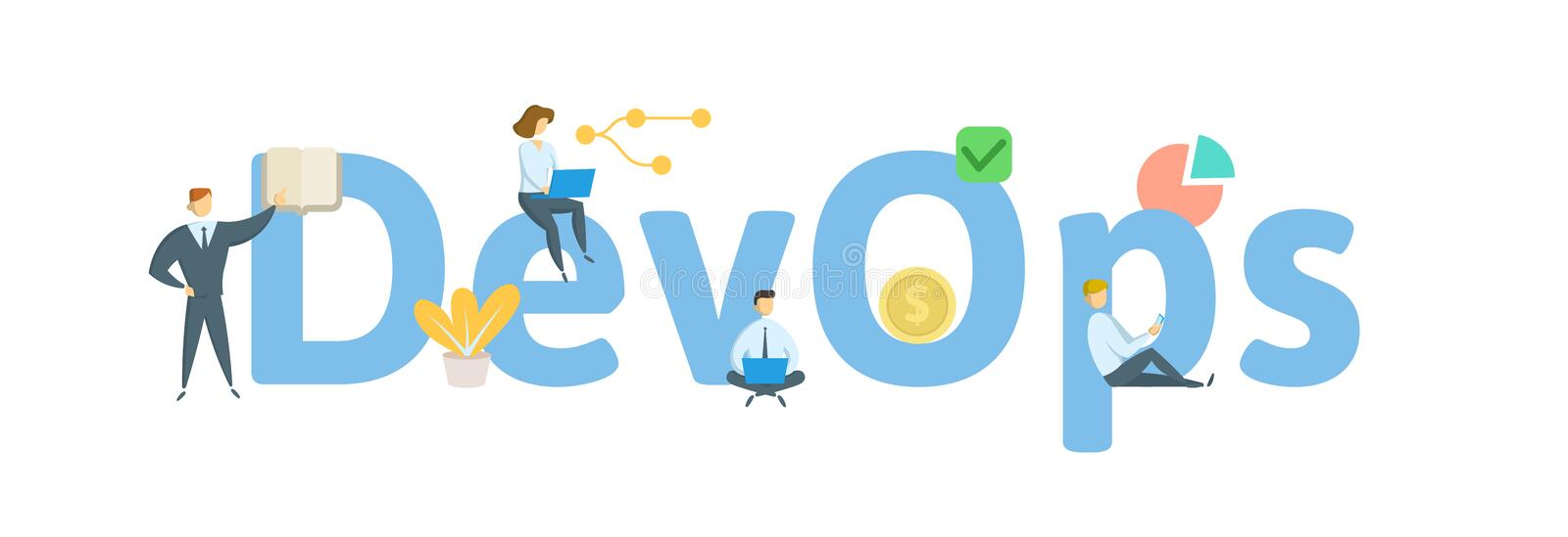 DevOps, Develoment and Optrations. Concept with people, letters and icons. Flat vector illustration. Isolated on white. DevOps, Develoment and Optrations stock illustration