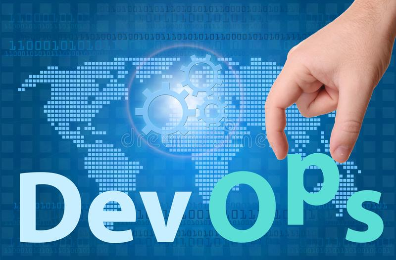 DevOps Development & Operations concept sign stock photos