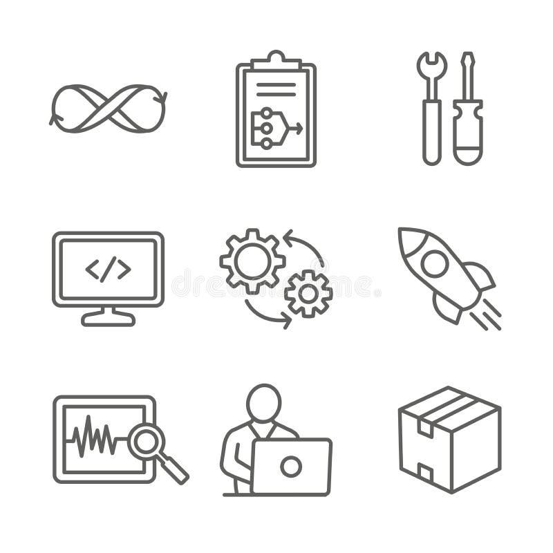 DevOps ikona Ustawiająca z planem, budowa, kod, test, uwolnienie, monitor, Działa i Pakuje ilustracja wektor