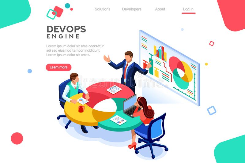DevOps Infographic professional Engine Isometric stock illustration