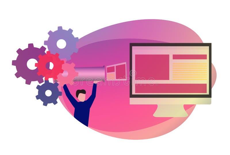 DevOps inställning i programvaruutveckling Rengöringsdukproduktlansering Rengöringsdukproduktfrigörare pipeline stock illustrationer