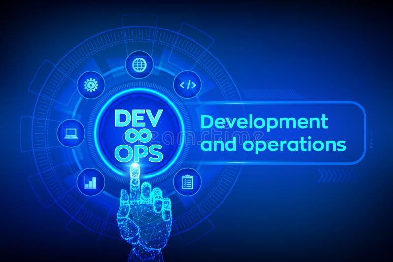 DevOps Obrotny rozwoju i optimisation pojęcie na wirtualnym ekranie Oprogramowanie in?ynieria Rozwój oprogramowania praktyki royalty ilustracja