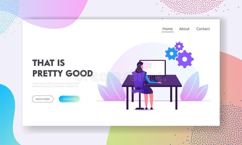 Devops Software Development Practices Methodology Webbplatslandningssida Möten för kvinnliga utvecklare på Office Desk Work stock illustrationer